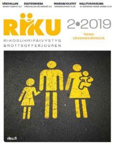 RIKU-lehden 2/19 kansi. Lehden teema: Lähisuhdeväkivalta